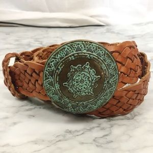 BUCKLE Brown Braided Leather Belt NWOT Size M